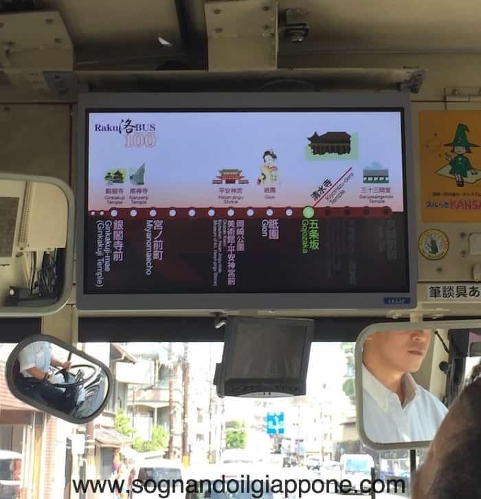 Monitor sul Raku Bus a Kyoto