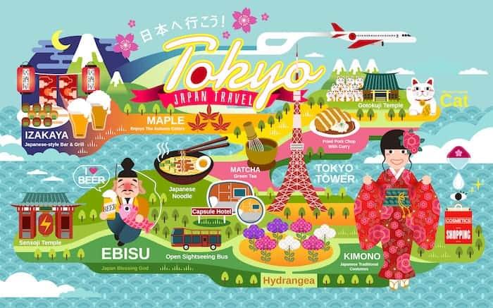 Mappa delle cose da vedere a Tokyo
